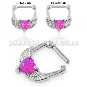 Synthetic Fuchsia Opal Heart Septum Clicker Piercing