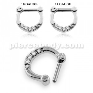 Sparkling Round Cubic Zirconia in Micro Setting Septum Clicker Piercing