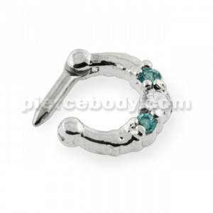 Three Pronged White and Aqua CZs Septum Clicker Ring