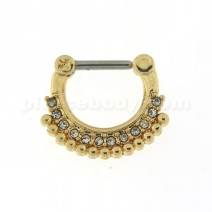Gold PVD Single Line Micro Paved CZ with Tribal Dots Septum Clicker