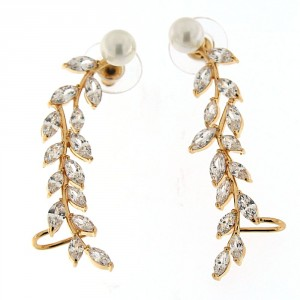 Long Leaf Ear Stud with Cuff