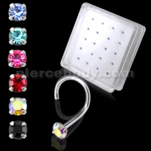 925 Silver Colorful CZ Jeweled Nose Screw