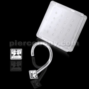 925 Silver CZ Square Jeweled Nose Screw