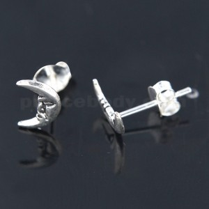 Oxidized 925 Sterling Silver Crescent Moon Ear Stud
