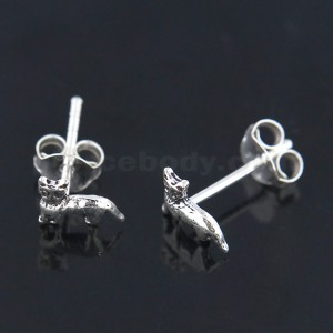 Oxidized 925 Sterling Silver Tiny Cat Ear Stud