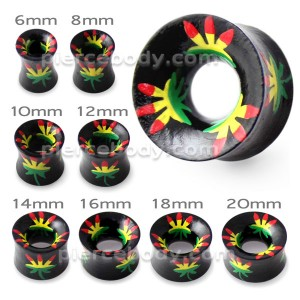 Printed Marijuana Hollow Wood Ear Plug