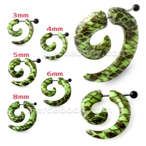 Black and Green Pattern Invisible Fake Ear plug