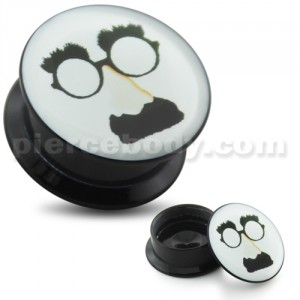 Mustache Nose Glasses UV Internal Screw Fit Ear Tunnel