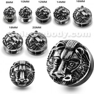 Casting Lion Face Screw Fit Ear Gauges