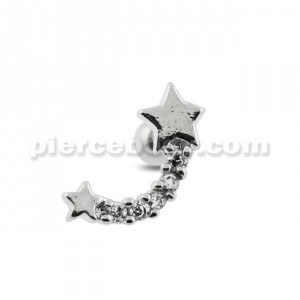 Star with Jeweled Tail Cartilage Tragus Piercing Ear Stud