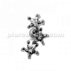 Jeweled Three Stars Cartilage Tragus Piercing Ear Stud