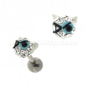 Multi Jeweled Winking Cat Cartilage Tragus Piercing Ear Stud