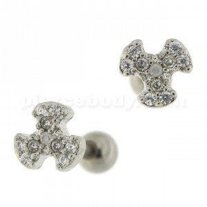 Micro Jeweled Biohazard Cartilage Tragus Piercing Ear Stud