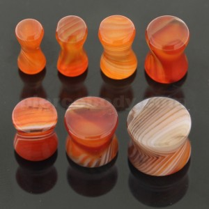 Colorful Synthetic Carnelian Stone Saddle Ear plug Gauges