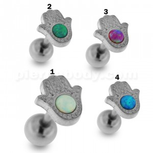 Hamsa or Fatima Hand with Opal Stone Tragus Piercing Ear Stud