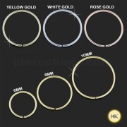 14K Gold Seamless Continuous Nose Hoop Ring