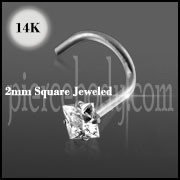 14K White Gold 2mm Jeweled Nose Screw