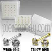 14K Gold Ball End jeweled Nose Pins in Mini Box