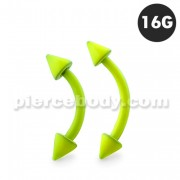 Neon Yellow 316L Surgical Steel Curved Barbells with Cone