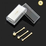 9K Solid Yellow Gold Plain Top Ball Nose Bone in Box