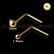9K Gold L-Shaped Top ball Nose Stud