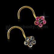 9K Solid Yellow Gold Crystal Flower Nose Stud
