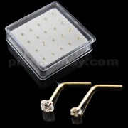 9K Solid Gold L-Shape Round CZ Nose Pins in Mini Box