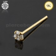 9K Gold CZ Jeweled Straight Nose Stud