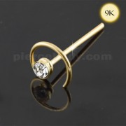 9K Gold Jeweled Coil Straight Nose Stud