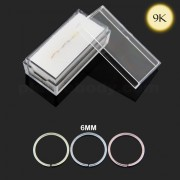 9K Gold 6 mm Seamless Continuous Nose Hoop Ring in Box