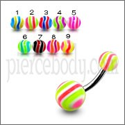 SS Belly Banana Ring With Multi Color UV Balls