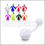 UV Belly Banana Bar Ring Body Jewelry With White UV Balls