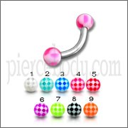 SS Lip Eyebrow Curved Bar with Beach Pattern Color UV Balls