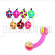 Assorted Color UV Banana Bar with 3MM UV Basketball Ball Eyebrow