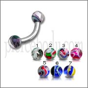 SS Banana With Mix Color UV Marble Design Balls Body Jewelry