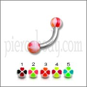 SS Eyebrow Curved Bar With Mix Color UV Balls Body Jewelry