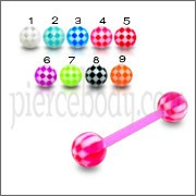 UV Tongue Barbell With Checks UV Balls