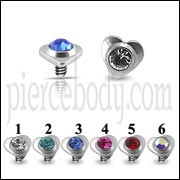 Heart Jeweled Dermal Anchor Tops | Dermal Anchors