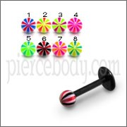 UV Black Labret With UV Mix Color Fancy Balls