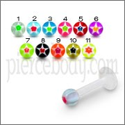 UV Tongue Chin Eyebrow Labret With Multi Color UV Fancy Balls