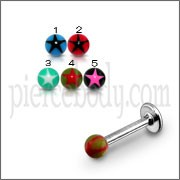 SS Tongue Labret With UV Star Fancy Balls