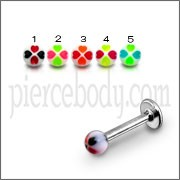 Mix Color Threaded SS Labret UV Fancy Flowers Acrylic Ball