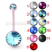 Pink BioFlex Base Jeweled Navel Ring Body Jewelry