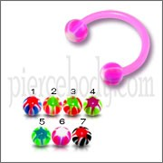 Pink Bio Bar UV Horseshoe Body Circular Barbells