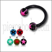 Black UV Circular Barbell with Pink Star UV Balls