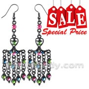 Brass and Rhinestones Dangling Costume Earring