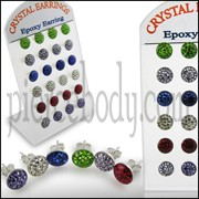 Crystal Ear Stud with Epoxy Cover