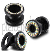 UV Multi AB Color Jeweled Ear Flesh Tunnel in Glue Setting