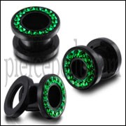 UV Ear Flesh Tunnel in Glue Setting With Emerald Green