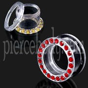 UV Transperant Multi Red Jeweled Ear Flesh Tunnel